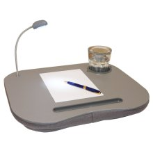 LAPTOP IPAD CUSHION PORTABLE READING LAP TOP TRAY TABLE 5 LED LIGHT & CUP HOLDER [Plain Grey]