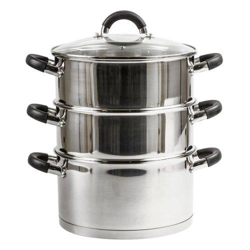 AMOS 3-Tier 20cm Stainless Steel Dishwasher Safe Induction Steamer Pot Set + Lid