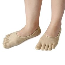 uxcell 1 Pair Moisturising Comfy Recovery Spa treatment Five Toes Gel Heel Socks Skin Color
