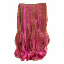 "One-piece Two Tone Clip-on Hairpieces 5 Clips 20"" - Light Brown/Rose Red"