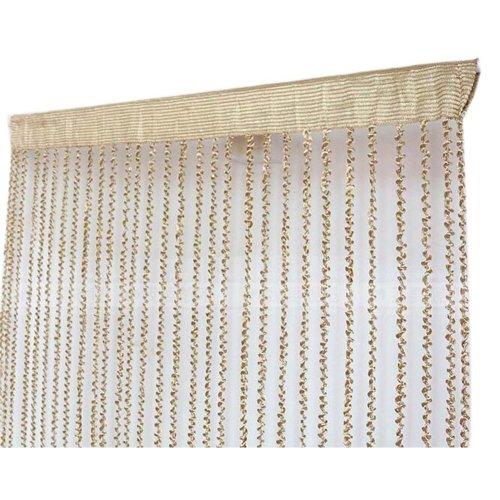 Spiral Pattern Door String Curtain Livingoom Divider Strip Curtain, Champagne