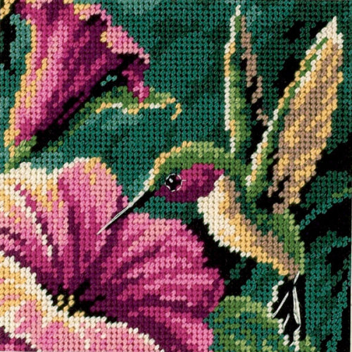 "Dimensions Mini Needlepoint Kit 5""X5""-Hummingbird Drama Stitched In Thread"