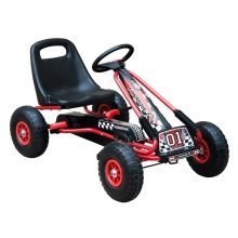 HOMCOM Kids Pedal Go Kart Cart Air Inflatable Tyres Motor Racing - Red