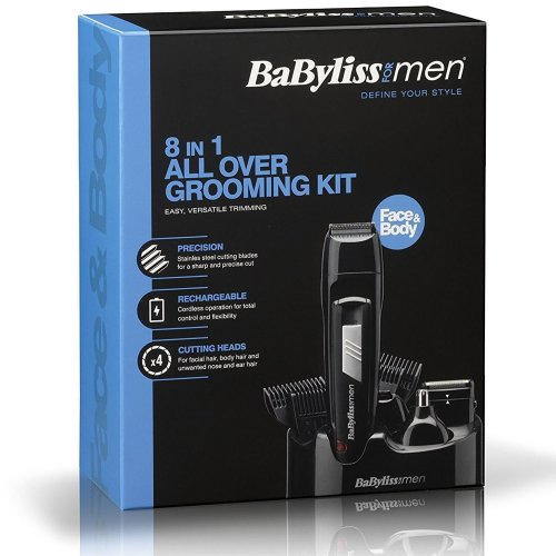 Babyliss 8-in-1 Men Grooming Kit Cordless Body Hair Clipper Beard Trimmer 7056CU
