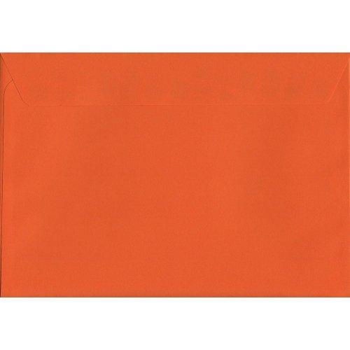 Pumpkin Orange Peel/Seal C5/A5 Coloured Orange Envelopes. 120gsm Luxury FSC Certified Paper. 162mm x 229mm. Wallet Style Envelope.