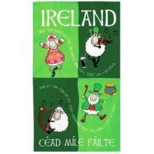 Ireland Irish Cartoon Dancing Sheep Tea Towel Souvenir Gift Green Cotton Elgate