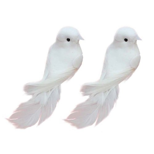 Yalulu 2Pcs Decorative Fake Doves Pigeon Artificial Foam Feather White Birds With Magnet, Craft Bird For Home Ornaments,Wedding Decor