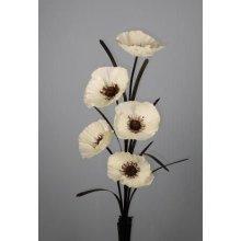 Single Stem Artificial Silk 5-Headed Poppy | Artificial Poppy