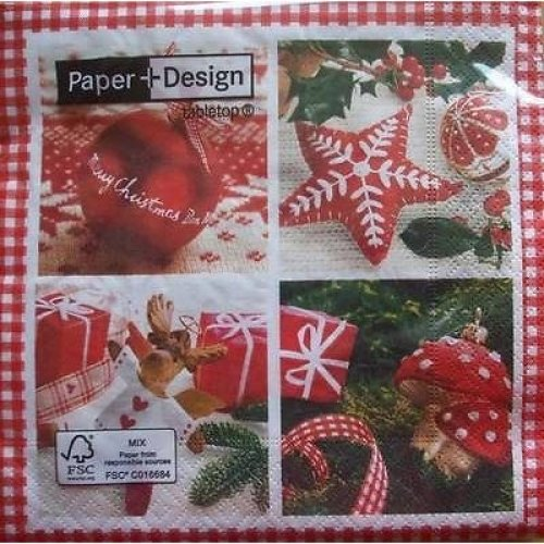 4 x Christmas Paper Napkins - Christmas Day - Ideal for Decoupage
