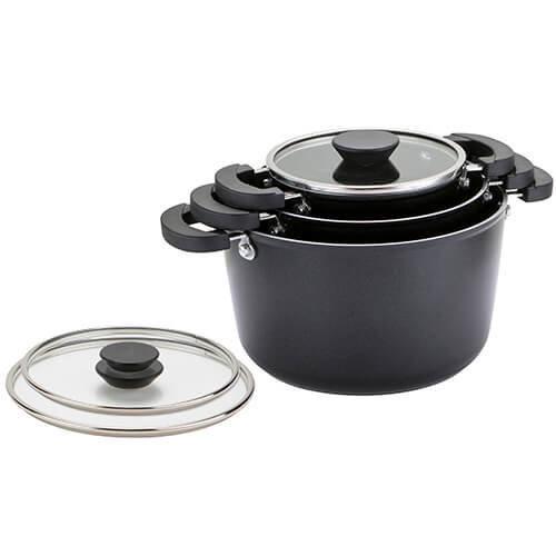 Prestige Kitchen Hacks 3-Piece Sauce and Stock Pot Set, Aluminium, Blac