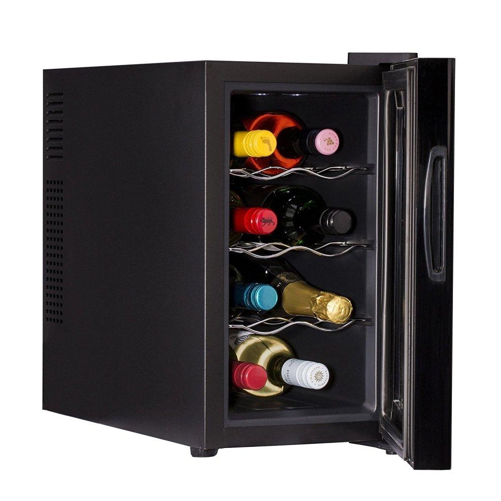 ovation black vertical 8 bottle thermoelectric wine cooler. Black Bedroom Furniture Sets. Home Design Ideas