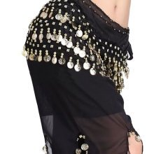 Chiffon Black Belly Dance Scarf With Dangling Gold Coins Belt Skirt
