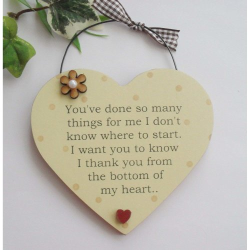Thank you from the bottom of my heart wooden gift plaque