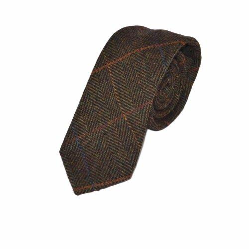 Luxury Dark Olive Green Herringbone Check Tie, Tweed
