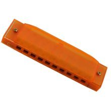 10 Holes Learning Toy Harmonica Wooden Educatial Muscic Toy Orange
