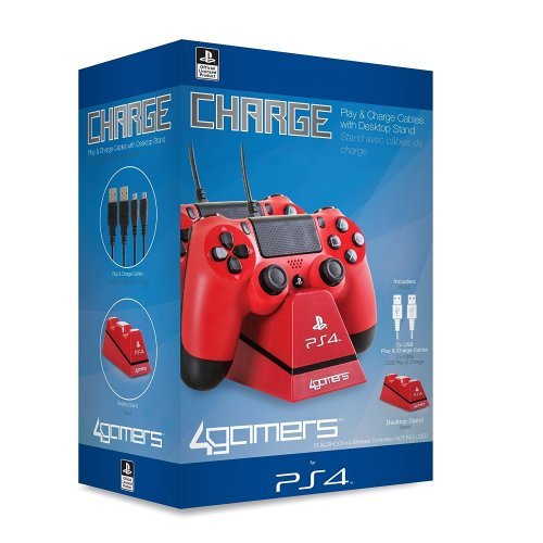4gamers Dual Charge Stand for Playstation 4 Ps4 Red