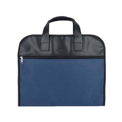Portable Document Bag Zipper Bag Multi-layered Data Bag Briefcase, Blue
