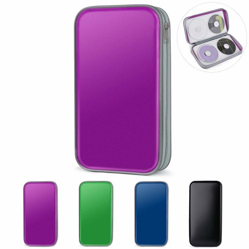 new concept 5e299 290da CD Wallet Bag, Tinksky 80 Disc Storage Hard Plastic CD Storage Holder  (Purple)