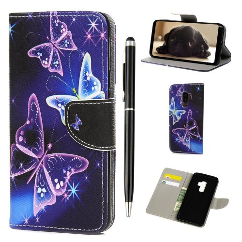 iVOYI Samsung Galaxy S9 Case Shockproof, Premium Samsung S9 Phone Cover Purple Butterfly Painted PU Leather Wallet Flip Magnet Stand Book Case for...
