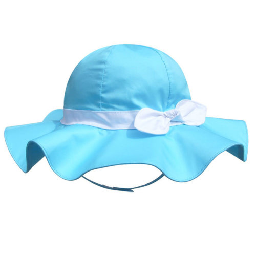 Children's Outdoor Sun Beach Hat With Bow For Baby Girls(Blue)