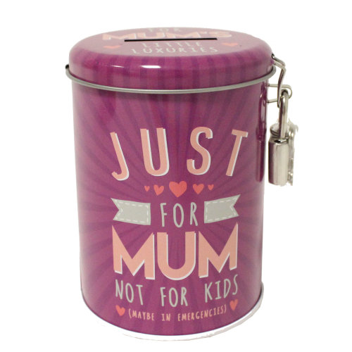 Saving Fund Lockable Money Tin Box - Just for Mum