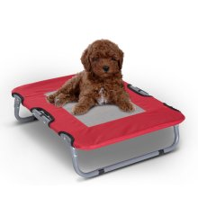 PawHut Oxford Fabric Portable Raised Pet Dog Cat Bed Folding Heavy Duty Metal Frame Breathable Red