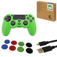 ZedLabz protect & play kit for PS4 inc silicone cover, thumb grips & 3m charging cable - green