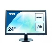 AOC E2460SH 24In Widescreen LED Monitor -DVI HDMI VGA