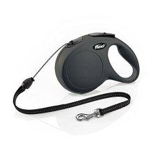 Flexi New Classic Cord Retractable Dog Lead, Black - Lead 8m Tape -  flexi cord classic dog retractable lead new black 8m tape