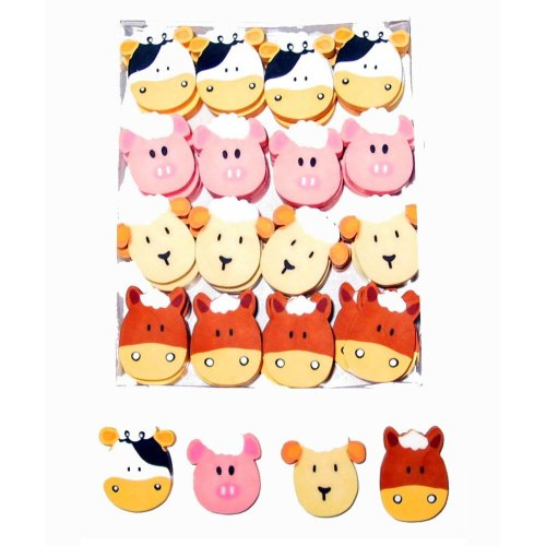 48 Farm Animal Erasers