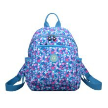 Women Zipper Backpack Water Resistant Under 13-Inch Laptop, Light Blue, Flower