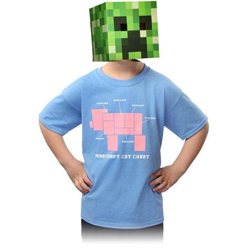 Minecraft Kids Porkchop T Shirt, Light Blue Size Extra Small