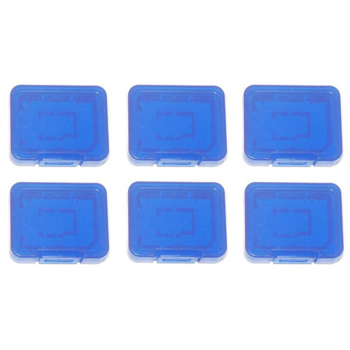 Individual tough plastic cases for SD SDHC SDXC & Micro SD memory cards semi transparent - 6 pack blue - Assecure