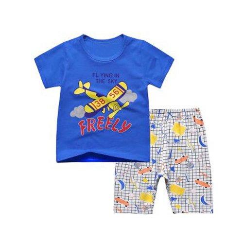 Boys Cartoon Rocket Pajamas Soft Cotton Kids Sleepwear Summer Pajamas