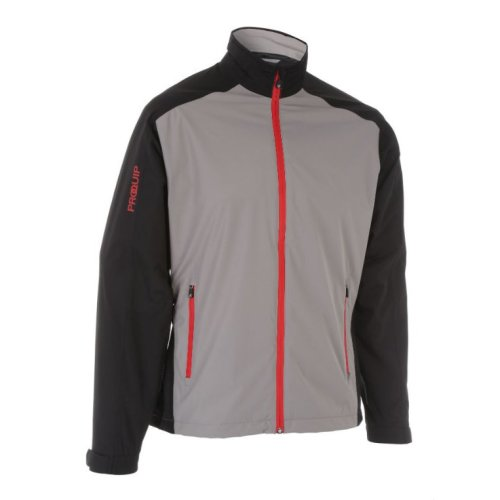 ProQuip Golf Mens Aquastorm PX1 Waterproof Rain Jacket Full Zip Black/Grey 3X-Large