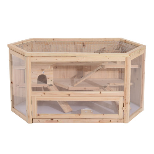 PawHut Large Wooden Hamster Cage Small Animal Kit hut Box Double Layers