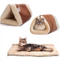 Kitty Cabin 2 in 1 Tunnel Bed & Mat Thermo-Reflective Core Self Heating