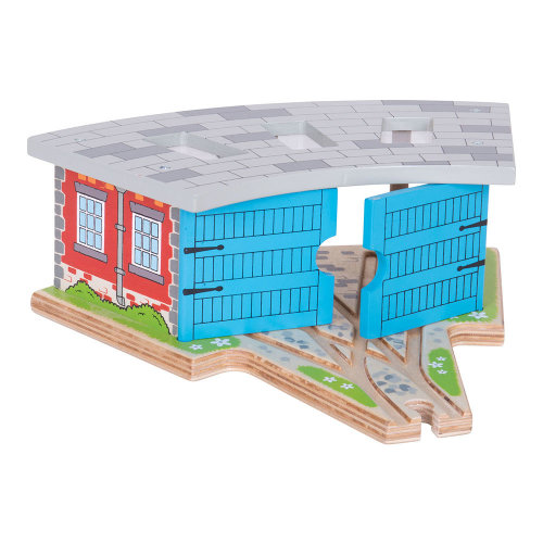 Bigjigs Rail Wooden Triple Engine Shed - Other Major Wooden Rail Brands are Compatible