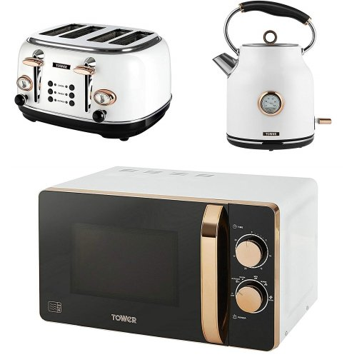 TOWER Rose Gold White MANUAL Microwave, 1.7L Quiet Boil Kettle & 4 Slice Toaster