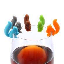 KCASA KC-GC01 5Pcs Silicone Cute Squirrel Tea Bag Holder Wine Glass Charms Drinks Maker Bar Tools