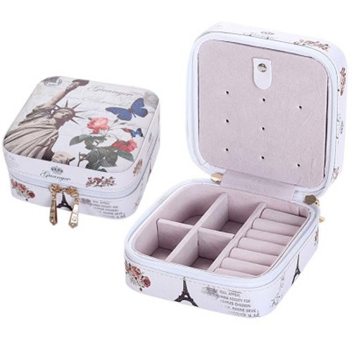 Small Jewelry Box Rings Earrings Necklace Organizer Display Storage Case for Travel, C