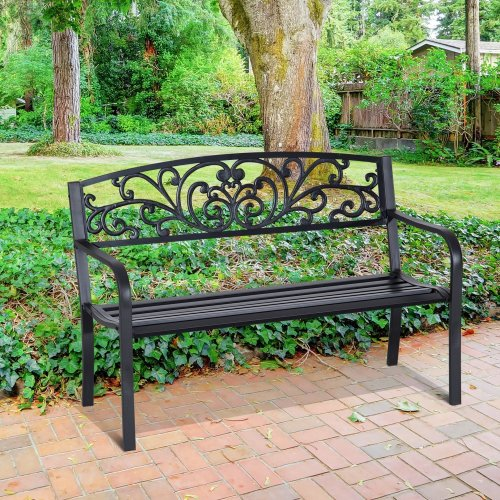 Outsunny Steel Garden Bench Furniture Porch 2 Person Seat 120cm - Black