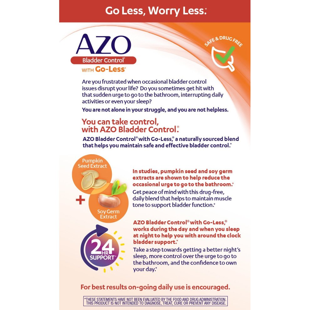 Azo Bladder Control >> Azo Bladder Control With Go Less Dietary Supplement Pumpkin Seed