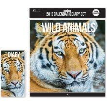 2018 Wild Animals Calendar & Diary Christmas Birthday Gift Square Home Office Lions Tigers Bears