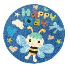 [Blue Bee] Children Bedroom Decor Rug Embroidered Mat Cartoon Carpet,23.62x23.62 inches