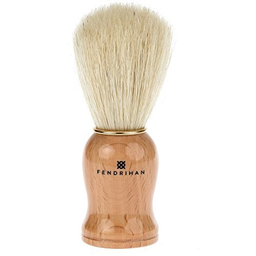 Fendrihan Pure Boar Bristle Shaving Brush with Wood Handle and Gold Rim for Personal and Professional Shaving