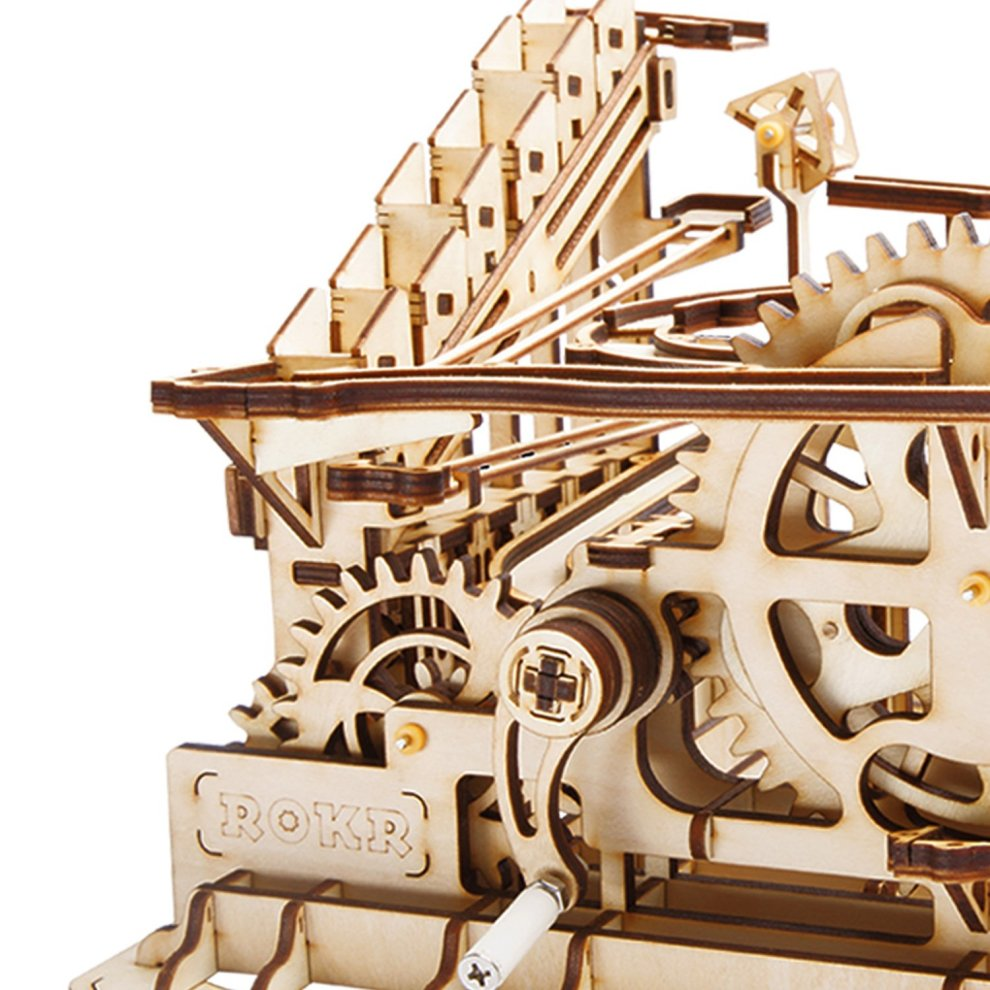 ROKR Marble Run Wooden Model Kits 3D Wooden Puzzle Mechanical Model With  Balls for Teens and Adults(Waterwheel coaster)