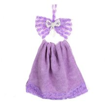 Kitchen Cartoon Bow-knot Towel Hanging Strong Water Absorption Towel, Purple