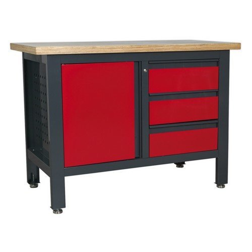 Sealey AP1372B Workstation with 3 Drawers & Cupboard