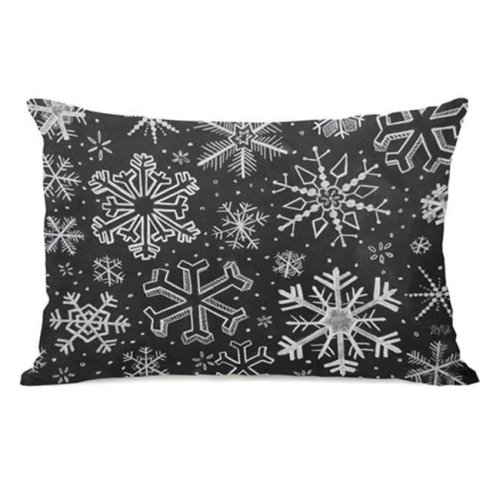 One Bella Casa 73420PL42 Snowflake Variety Pillow by Lily & Val, Gray White